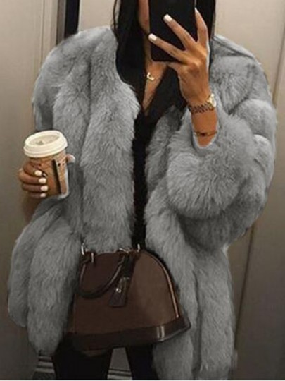 Light Grey Faux Fur Plus Size Long Sleeve Bubble Fur Outerwear Teddy Coat