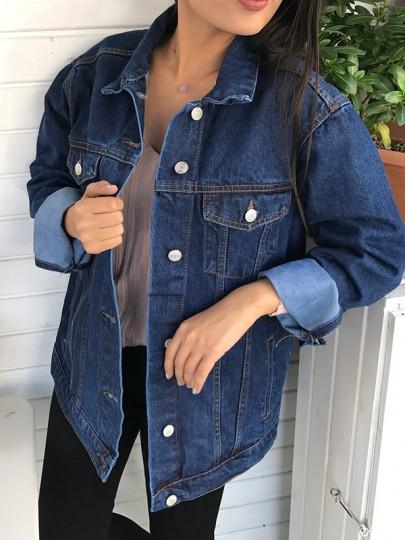 Dark Blue Pockets Buttons Single Breasted Turndown Collar Long Sleeve Fashion Coat