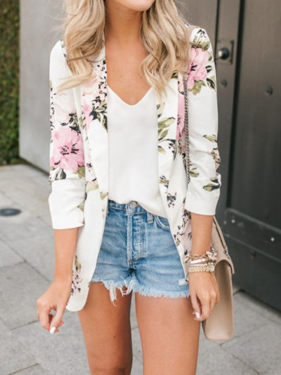 White Floral Print Pockets Turndown Collar Long Sleeve Going out Suit