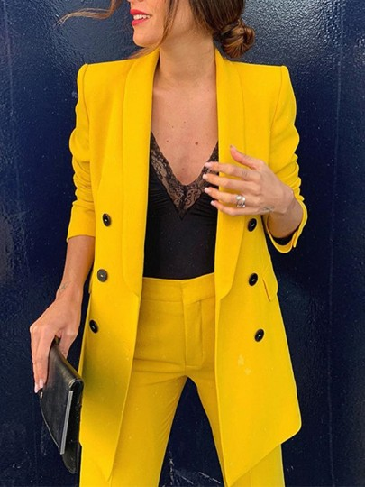 Yellow Double Breasted Pockets Lapelless Long Sleeve Going Out Blazer