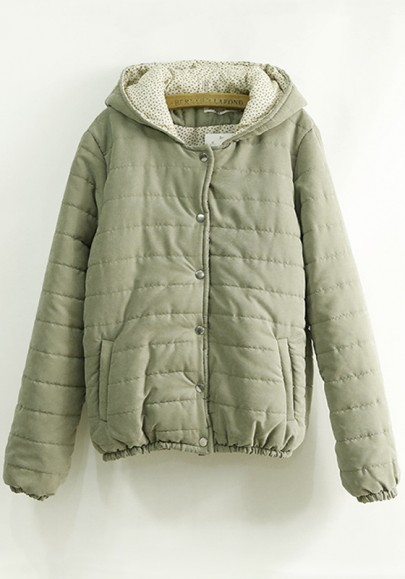 Green Plain Pockets Hooded Cute Padded Coat