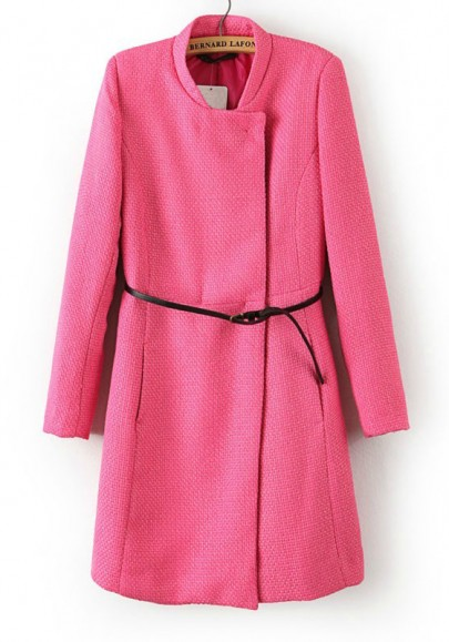 Pink Belt Collarless Wrap Polyester Trench Coat