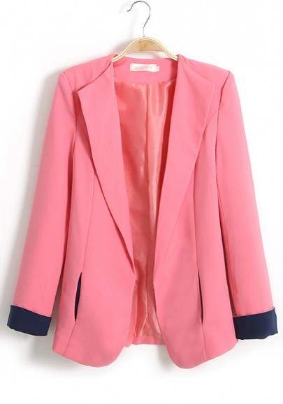 Pink Color Block Pockets Turndown Collar Cotton Suit