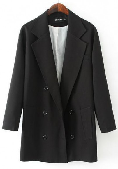 Black Plain Buttons Blazer