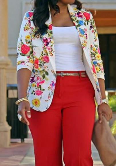 Floral Print Turndown Collar Single Button Long Sleeve Casual Blazer
