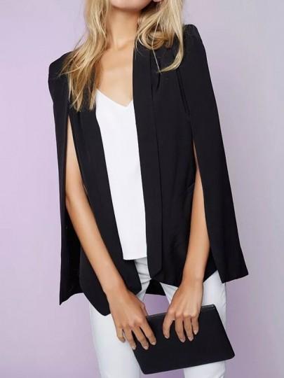 Schwarze Ebene Pocket Turndown Collar Umhang Übergroße Elegantee Blazer