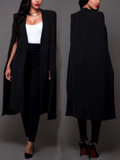 Mi-longue blazer manches longues mode élégant femme ouvert cape veste noir