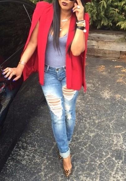 Red Irregular Cape Shawl Lapel Sleeveless Fashion Blazer