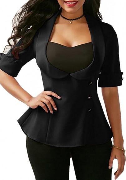 Black Tie Back Turndown Collar Fashion Suit