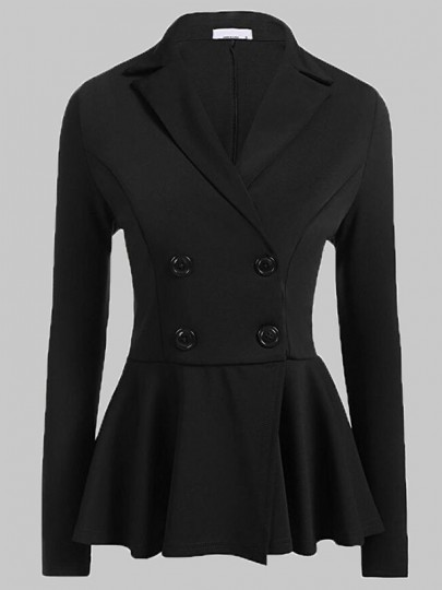 Black Double-Buttons Peplum Office Worker/Daily Formal Elegant Cardigan Blazer