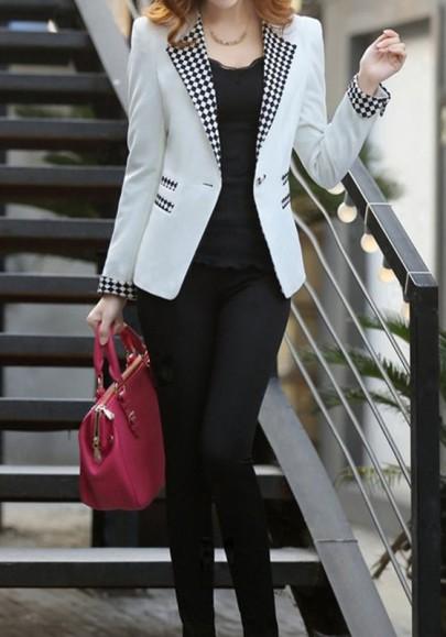 Weiße Karierte Taschen Langarm Mode Blazer mit Einem Knopf Damen Mantel Anzug Jacken