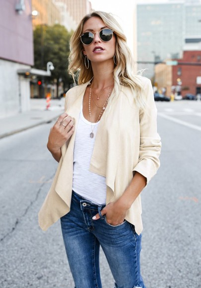 White Irregular Lapelless Long Sleeve Fashion Blazer
