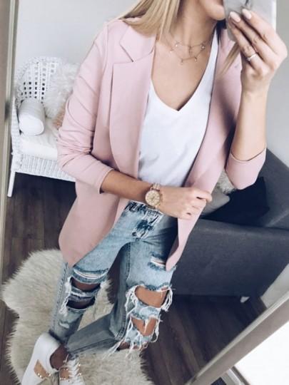 Pink Long Sleeve Turndown Collar Sweet Fashion Suit