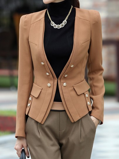 Light Brown Buttons Pockets Single Breasted Lapelless Fashion Blazer