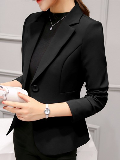 Black Pockets Single Button Tailored Collar Long Sleeve Elegant Blazer