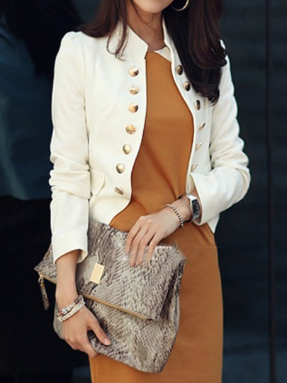 White Pockets Buttons Studded Double Breasted Band Collar Ladies Long Sleeve Elegant Blazer