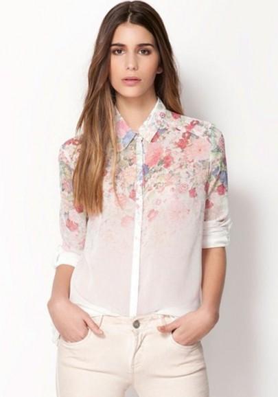 Blusa solapa floral print manga larga la gasa blanco