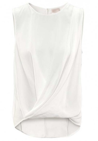 White Ruffle Irregular Round Neck Sleeveless Chiffon Blouse