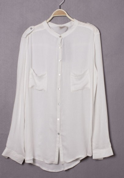White Chiffon Blouse With Collar 7
