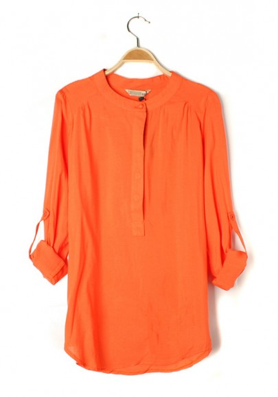 Orange Plain Round Neck Seven's Sleeve Chiffon Blouse