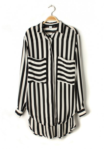Multicolor Striped Pockets Lapel Long Sleeve Chiffon Blouse