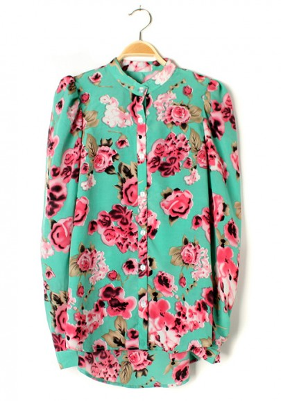 Green Flowers Print Irregular Bat Sleeve Chiffon Blouse