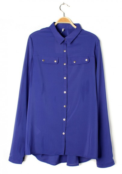 Blue Metal Buttons Double Pockets Lapel Chiffon Blouse