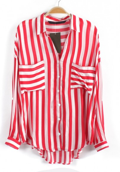 Red Striped Print Pockets Long Sleeve Chiffon Blouse