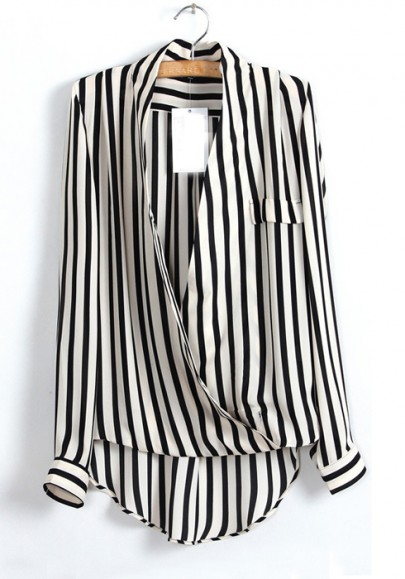 Multicolor Striped Ruffle V-neck Long Sleeve Chiffon Blouse