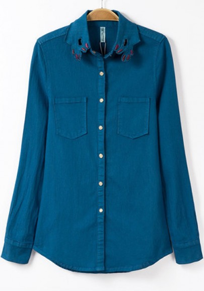 Blue Plain Pockets Long Sleeve Denim Blouse