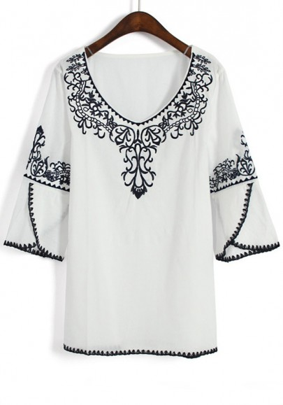 Embroidered Blouses And Tops Cotton 60
