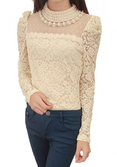 Apricot Pearl Round Neck Long Sleeve Lace Blouse