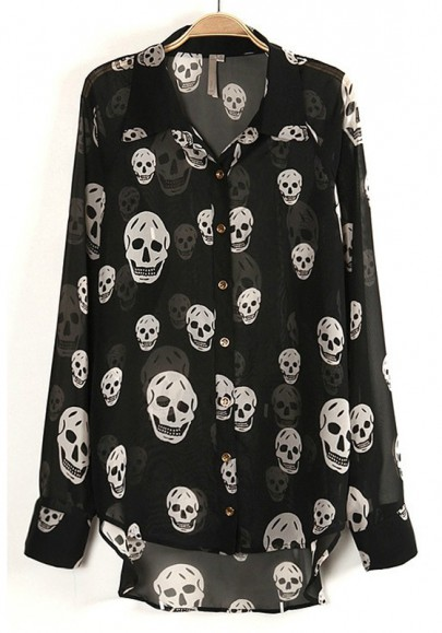 Multicolor Skull Buttons Long Sleeve Thin Chiffon Blouse