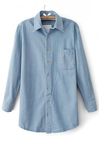 Light Blue Plain Pockets Long Sleeve Denim Blouse