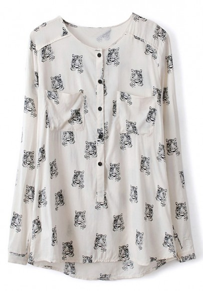 White Tiger Print Pockets Long Sleeve Polyester Blouse