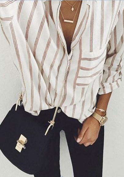 Weiß Gestreifte Taschen V-Ausschnitt Langarm Peter Pan Kragen Übergroße Beiläufig Bluse Mode Damen Oberteile