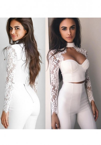 White Patchwork Lace Collarless Sexy Polyester Slim Blouse