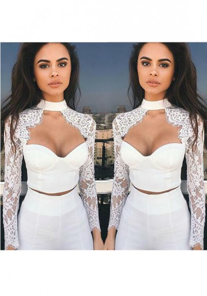 White Patchwork Crop Lace Cut Out Sexy Blouse