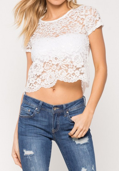 White Floral Crop Lace Hollow-out Round Neck Short Sleeve Blouse