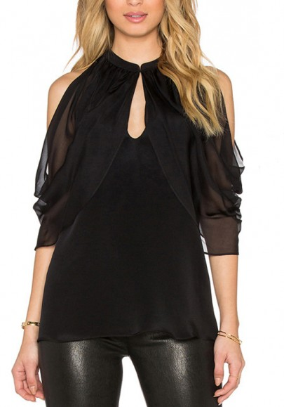 Black Patchwork Cut Out Ruffle Round Neck Sexy Blouse