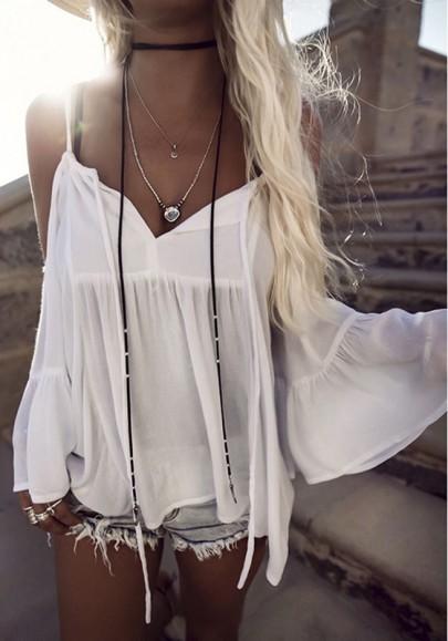 Weiß Spaghettiträger Off Shoulder V-Ausschnitt Rüschen Langarm Mode Blusen Strand Urlaub Oberteile Damen