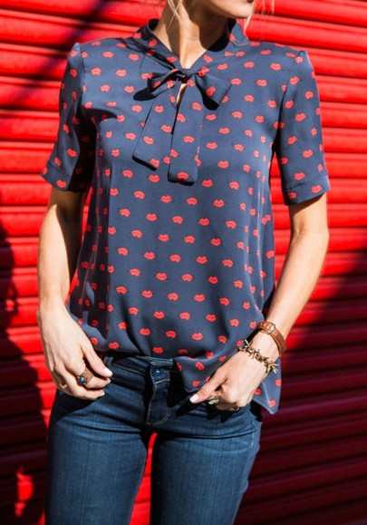 Navy Blue-Red Lips Floral Plus Size Bow Collar Short Sleeve Casual Blouse