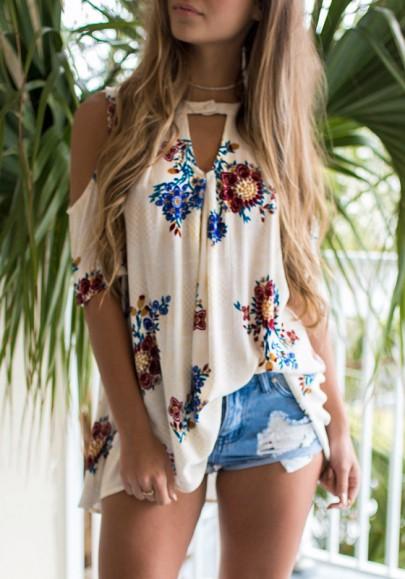Weiß Blumen Cut Out Off Shoulder Schulterfreie Kurzarm Lässige Blusen Damen Oberteile Tops