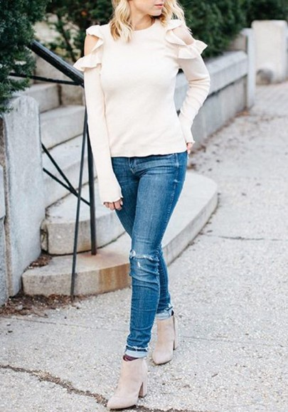 White Cut Out Off Shoulder Ruffle Long Sleeve Fashion Blouse