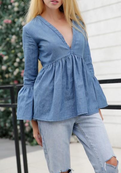 Blouse en jean plissé décolleté plongeant manches longues occasionnel femme chemisier bleu