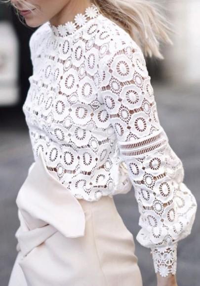 Blusa flores de encaje cuello de banda manga larga moda blanco