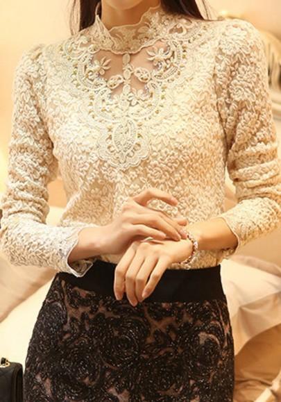 Beige Mesh Spitze Perlen Stehkragen Langarm Elegant Tunika Bluse Top Oberteile Damen Mode