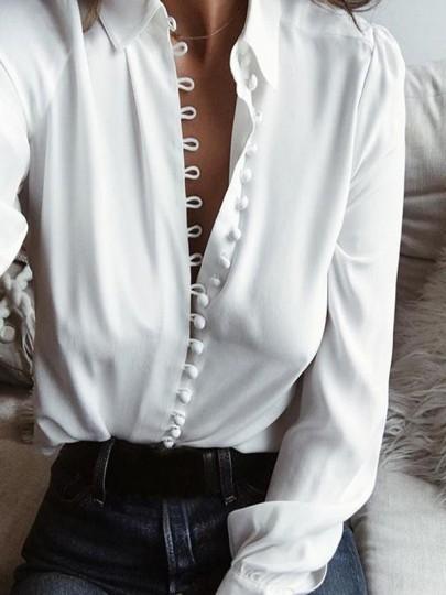 Weiß Knöpfe Einreihig Langarm V-Ausschnitt Mode Bluse Hemd Damen Oberteile Tops