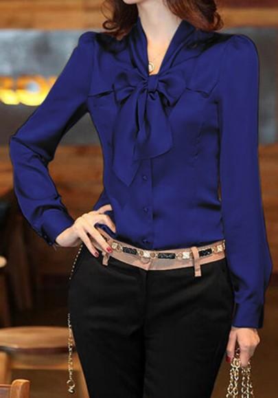 Chemisier col lavallière bouton manches longues femme élégant bleu