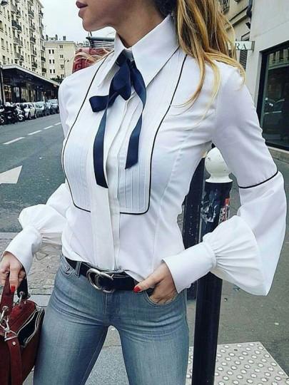Blusa botones cuello de cobertura manga larga moda blanco